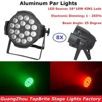 8xlot led par lights 18x10w 4in1 rgbw 48 channel aluminum shell dmx stage effect lighting dj disco wash lights for xmas party