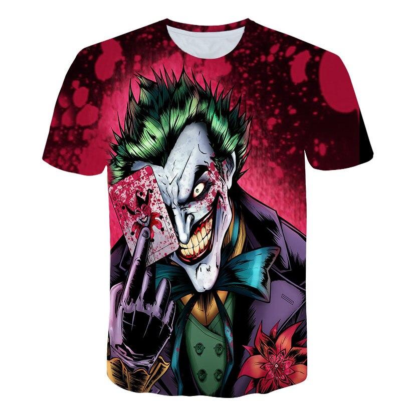 Gótico horror meia cara t camisa engraçado cartões mágicos personagem coringa vestuário design 3d camiseta impressão poker digital t zumbi