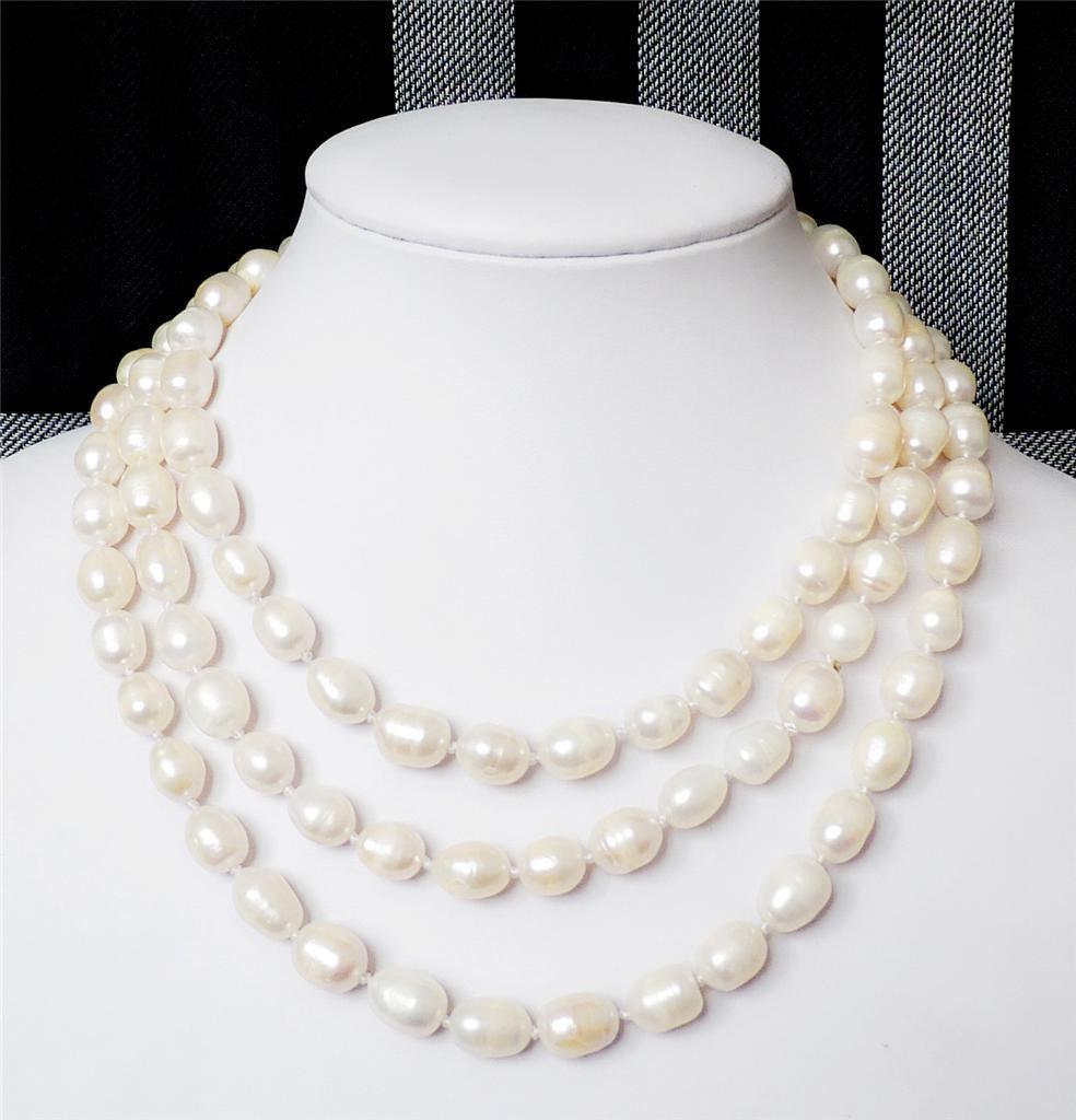 """Joyería de venta> collar de perlas de arroz cultivadas de agua dulce blanco de 8-9 MM 48 """"> Envío Gratis"""