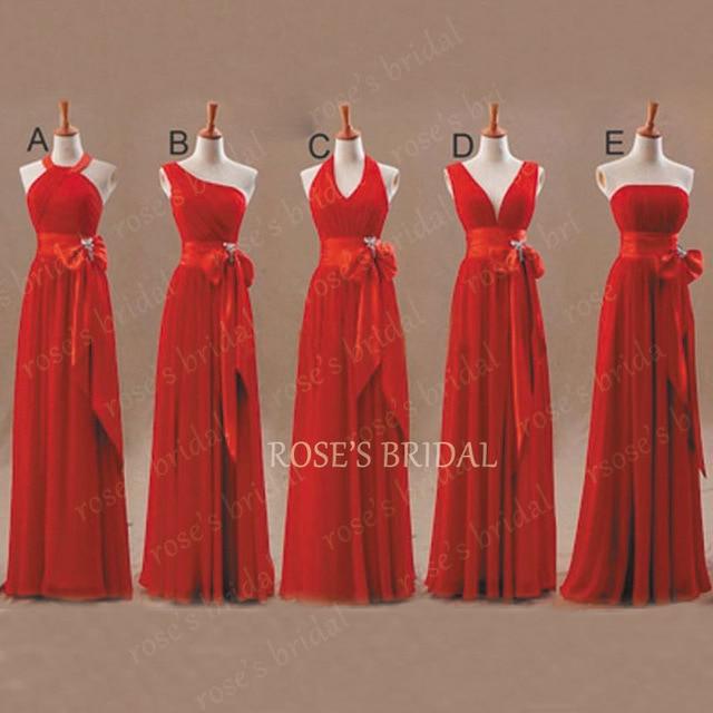 Vestido De Verao трапециевидные шифоновые красные платья подружки невесты 2017 Длинные Дешевые Элегантные свадебные вечерние платья летнее платье