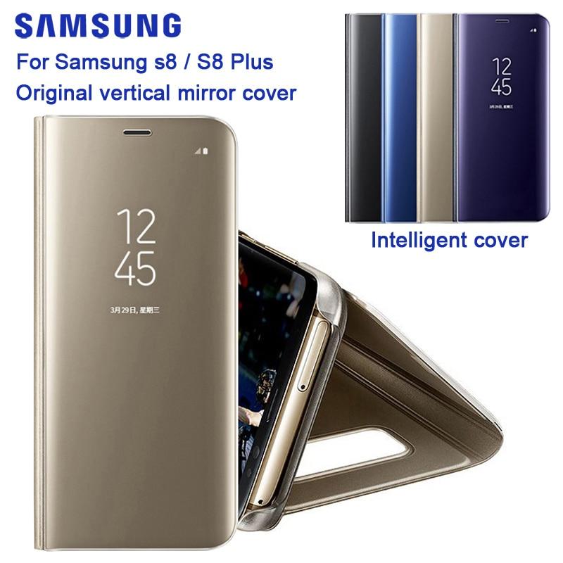 Оригинальный зеркальный Чехол Samsung, прозрачный чехол для телефона, EF-ZG955 для Galaxy S8 G9500 S8 + S8 Plus SM-G955, тонкий флип-чехол