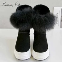 krazing pot cow suede natural fur snow boots sweet lady gorgeous cold protection waterproof design keep warm mid calf boots l51
