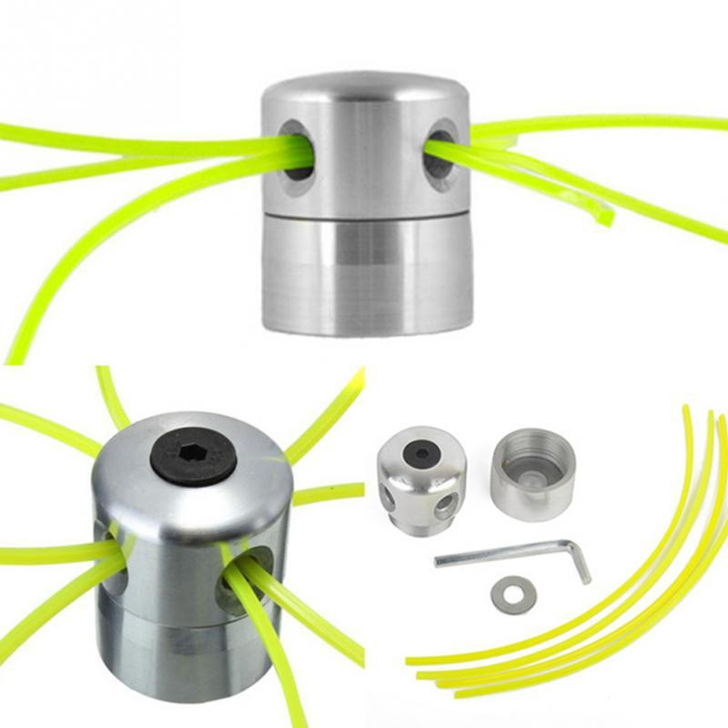 Cabezal de corte de hierba de aluminio con 4 líneas, cabezal de corte de cepillo, accesorios de cortacésped, cabezal de corte para reemplazo de cortacésped