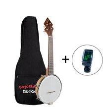 Banjolele BanjoUke SideKick Tenor Banjolele W/Gig Bag + Tuner +Strap BANJOUKE Ukulele Banjo Family Instrument 26 Inch