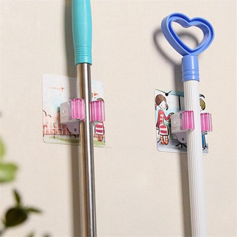 Montado en la cocina baño succión libre de uñas succionador gancho soporte para mopa taza de pared trapo/escoba/fregona estante de almacenamiento