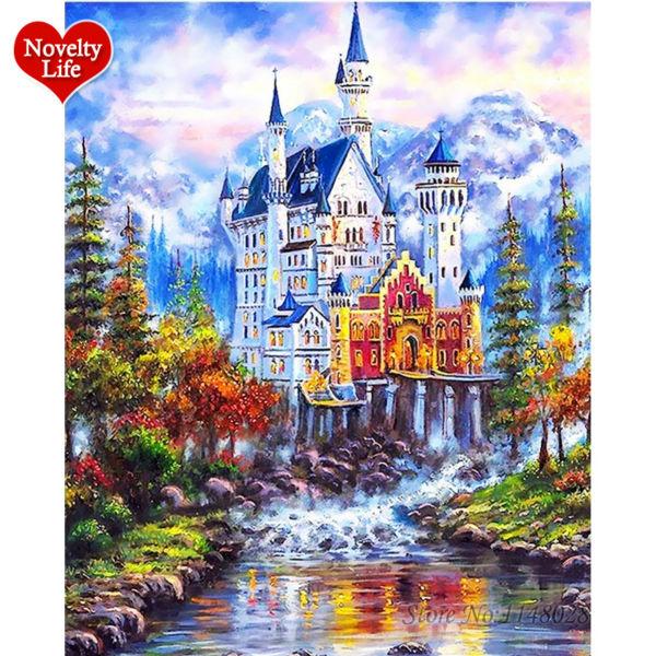 DIY pintura al óleo Digital por números imágenes lienzo pared arte hogar Decoración hermoso cuento de hadas Castillo de nieve pintado a mano ColoringS32