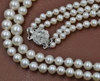 stunning 5 8mm round white real natural pearl necklace rose flower clasp