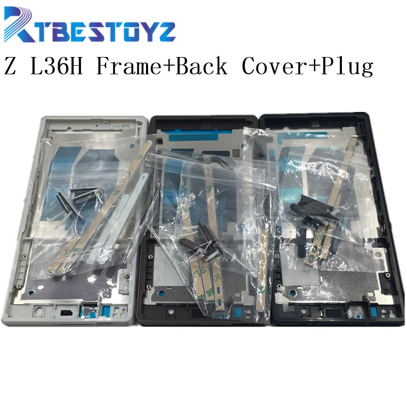RTBESTOYZ Замена для Sony Xperia Z L36H LT36 C6603 C6602 Передняя средняя Рама корпуса + задняя крышка батареи + Крышка Штепсельной Вилки