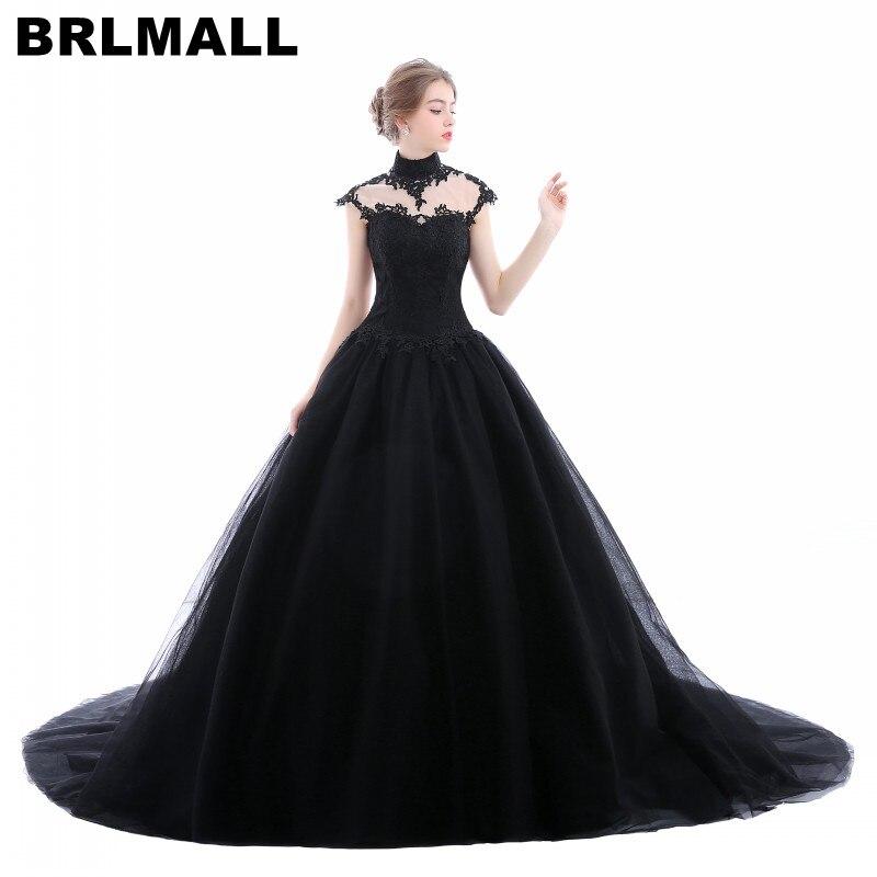 BRLMALL с высокой горловиной в готическом стиле черные свадебные платья размера плюс фатиновое платье с аппликацией, платье vestido de noiva бальное ц...