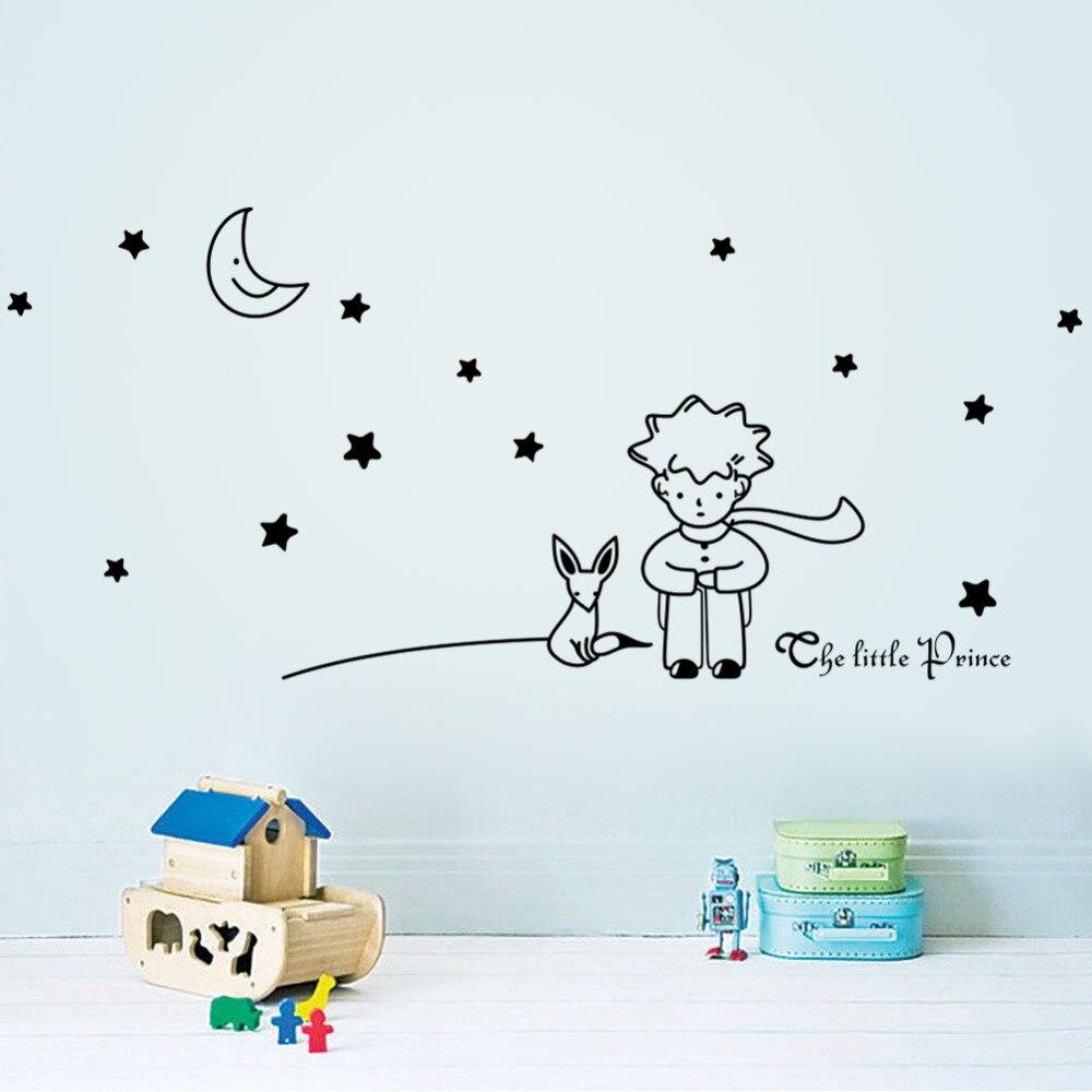 Pegatinas de arte de la pared de tamaño grande Pequeño Príncipe estrellas zorro Luna decoración de la casa de vinilo para niños decoración de la habitación de los niños Mural