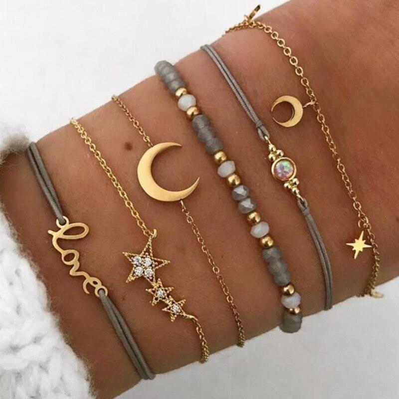 6 unids/set Retro hueco estrella Luna amor cadena con dije de cristal pulsera de cuentas doradas mujer clásica multicapa conjunto de pulsera de cuero