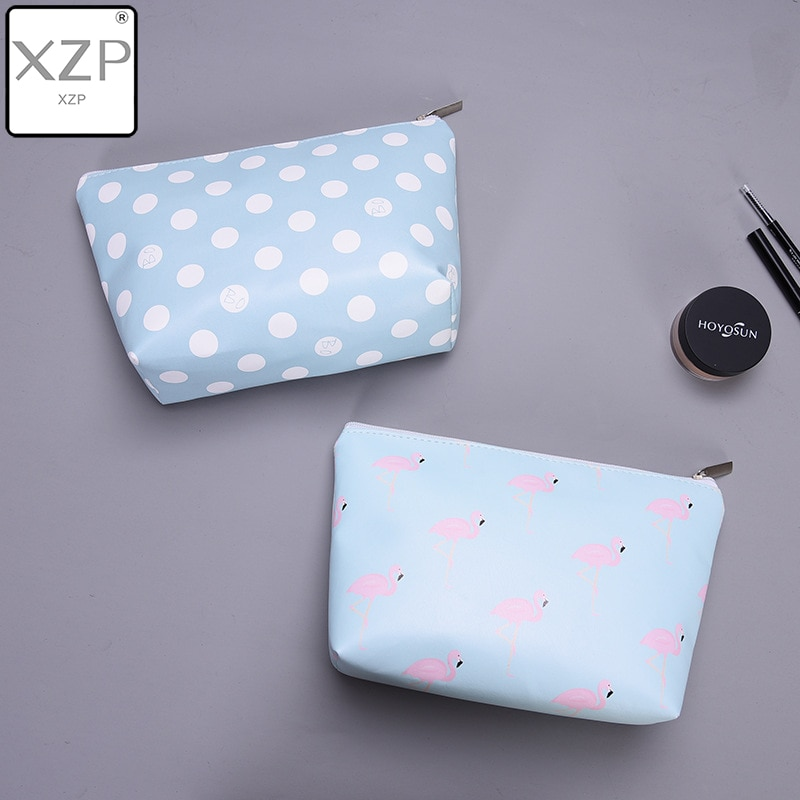 XZP Animal Flamingo Cosmetic Cases Bag Zipper Women Blue Dot Make Up Bag Travel Waterproof Portable