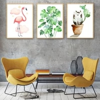 waterproof canvas painting stylish pictures for living room flamingos series poster nordic style wall artwork unframed