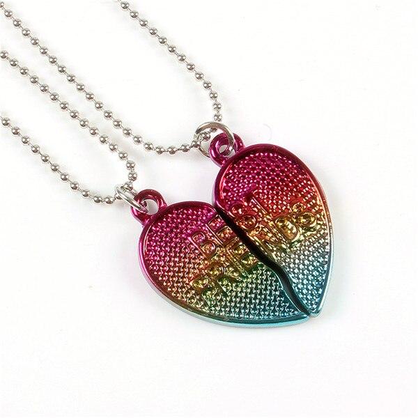 2 unids/set mejores amigos para siempre BFF collar de cadena amor corazón colgante encanto gradiente epoxy glitter vidrio niños collar