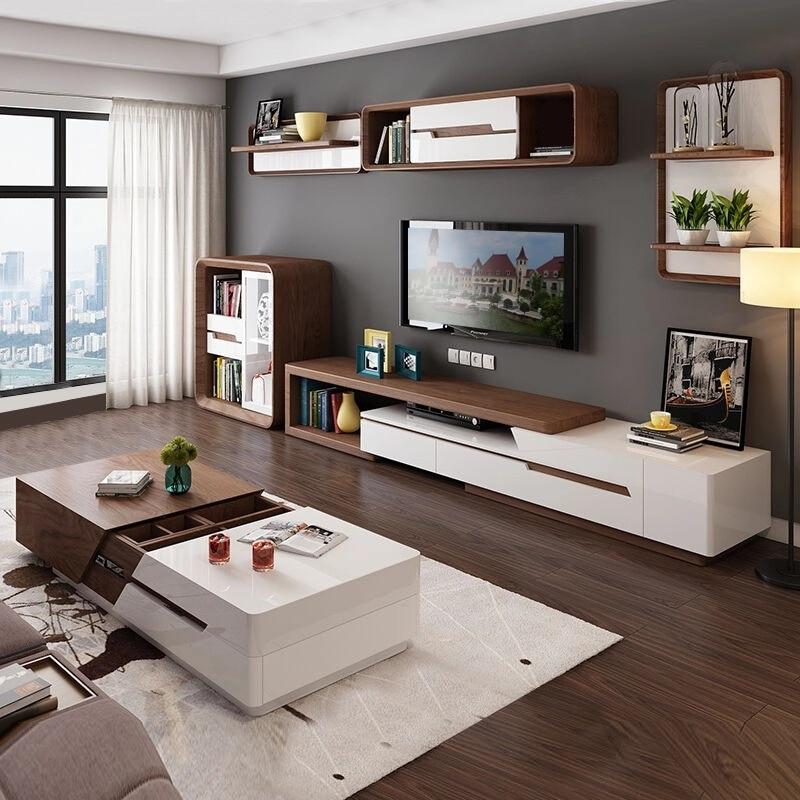 Moderno minimalista blanco pintado café Mesa TV armario combinación de grano de madera estirable mesita para café de sala de estar