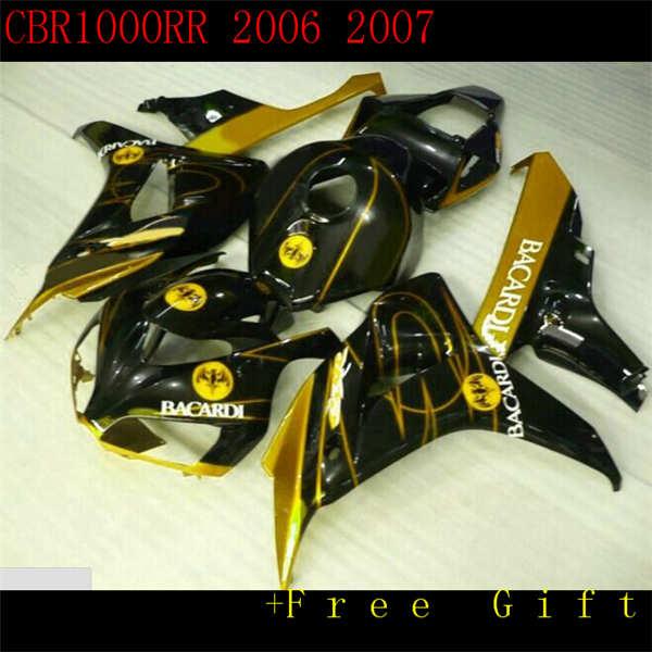 Nn-gran oferta nuevo plástico ABS Kit de carenado de motocicleta para CBR1000RR 06 07 CBR1000 2006 2007 carrocería negro oro llama