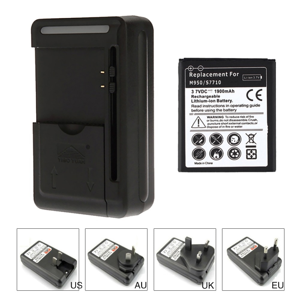 100% nuevo 1900 mAh batería de repuesto para Samsung Galaxy S7710 M950 batería + cargador de pared USB