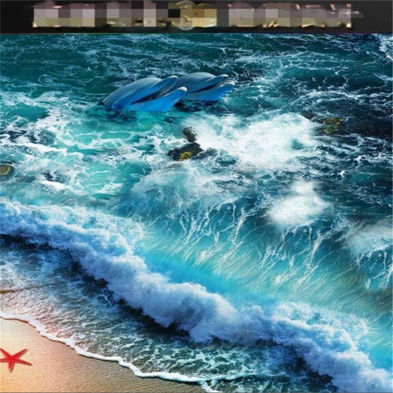 Beibehang Home baño dormitorio piso Auto adhesivo 3D papel tapiz playa olas surf 3D piso azulejos pintura 3d suelo murales