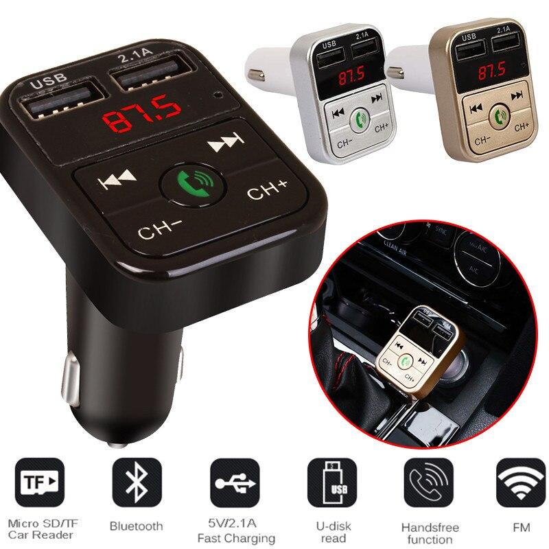 Samochodowy nadajnik bluetooth fm bezprzewodowy zestaw głośnomówiący odbiornik audio Auto LED odtwarzacz MP3 2.1A podwójna szybka ładowarka usb akcesoria samochodowe