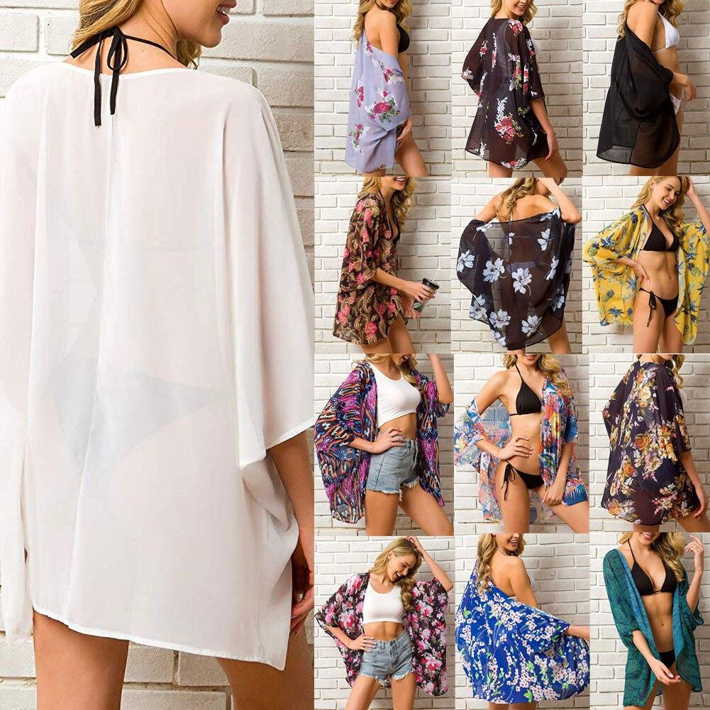 2019 Yaz Kadın Şifon Çiçek Kimono Plaj Hırka Şeffaf Cover Up Mayo Uzun Bluz Gömlek Kadın Üstleri