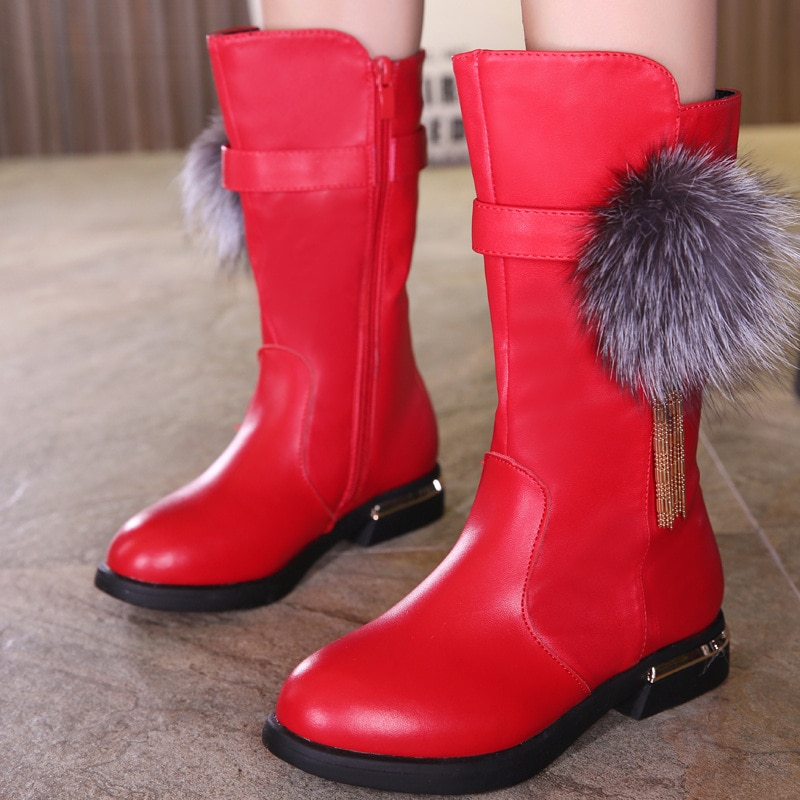 2018 winter girls boots real leather high boots girls' cotton shoes children's snow boots Martin boots enlarge