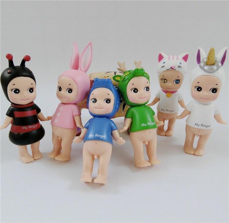 6 pçs/lote sonny anjo unicórnio dragão diabo anjo kewpie boneca figura de brinquedo bolo decoração crianças presente aniversário coleção