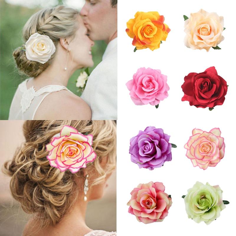 Boho Flower Hair Accessories For Women Bride Beach Rose Floral Hair Clips DIY Bride Headdress Brooch