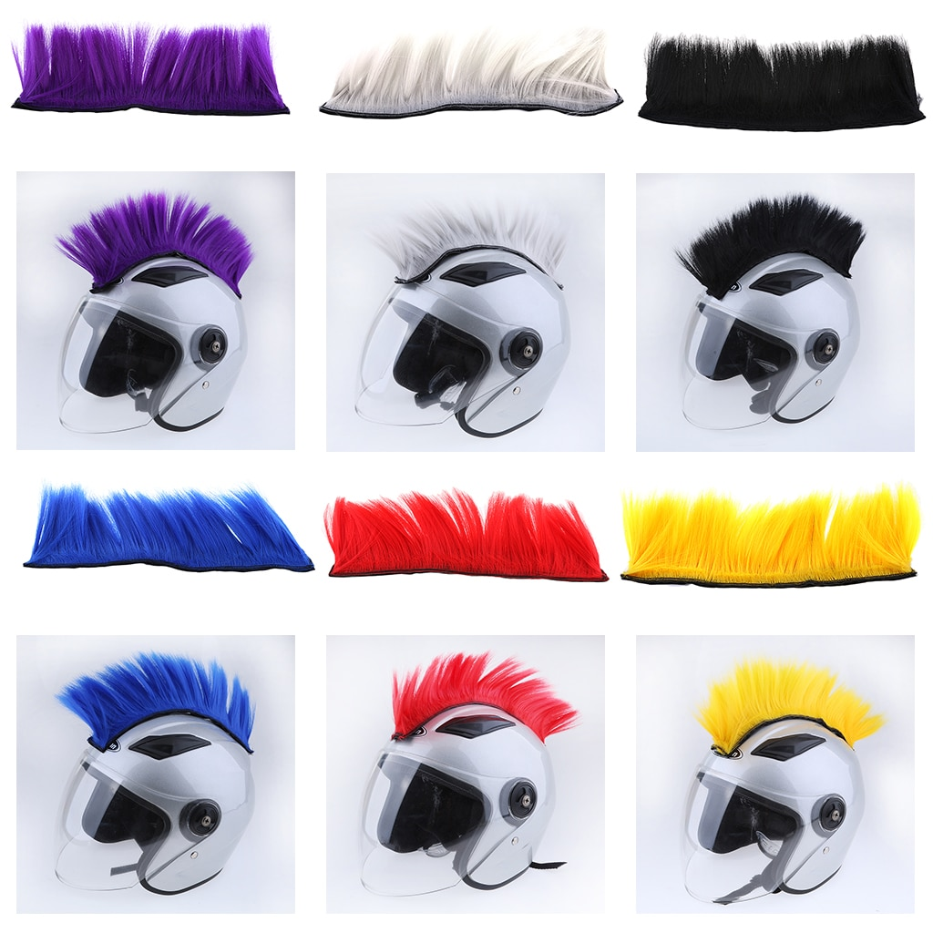 Parches de pelo Mohawk para casco adhesivo de motocicleta, disfraces de cabeza Skinhead, peluca Skinhead para disfraces de Cosplay, peluca