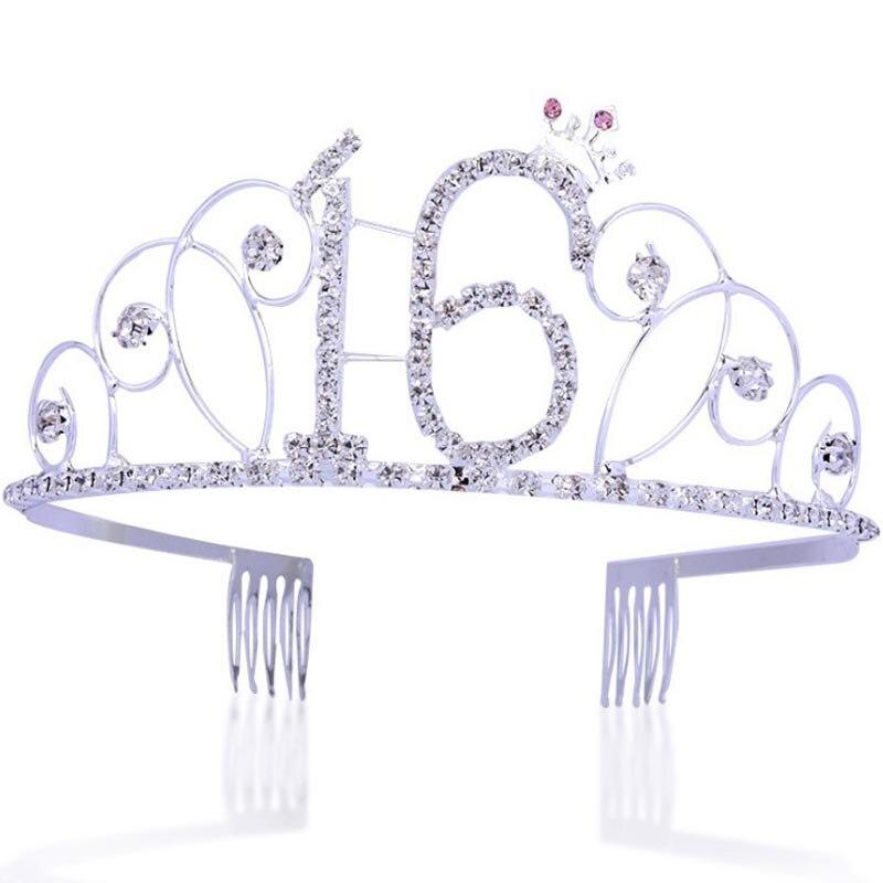 Corona de diamante de metal para fiesta de feliz cumpleaños 16 18 20th, corona, suministros de fiesta, tiara para chica crown
