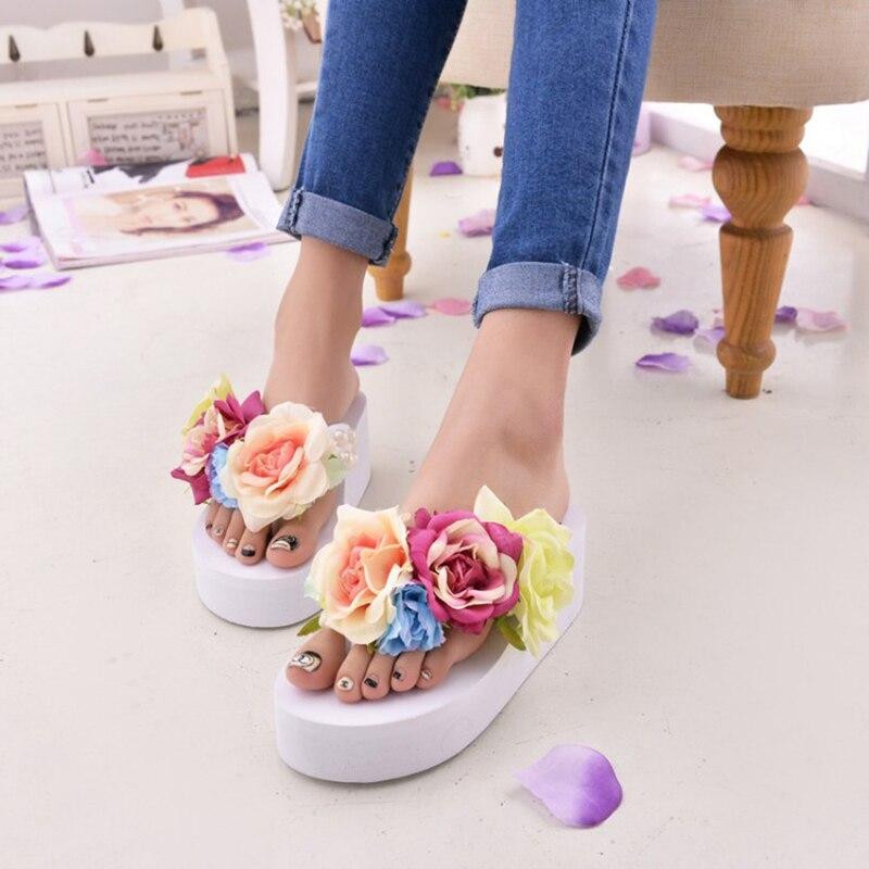 Sandalias de plataforma para mujer, sandalias de verano para mujer, sandalias con flores, cuñas, Zapatos, zapatillas, chinelo, sandalia