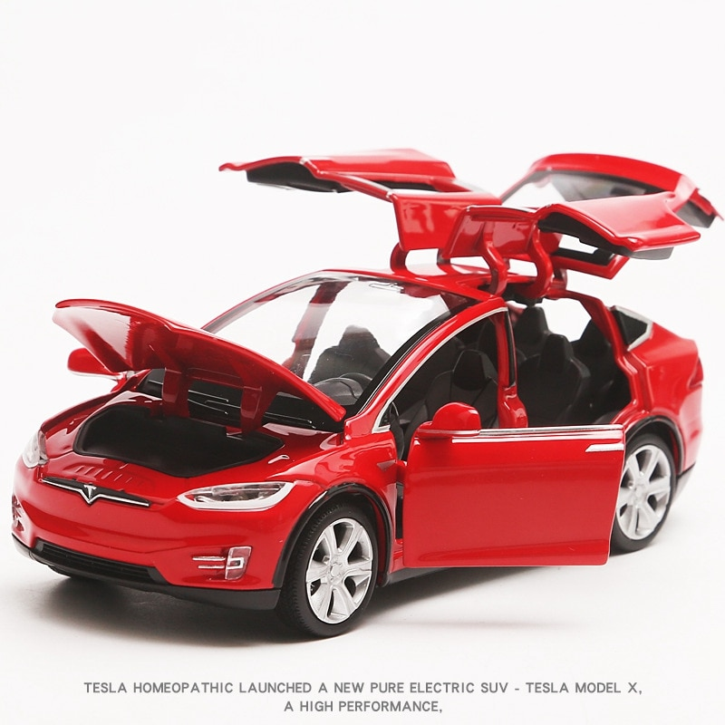1:32 Tesla MODELX90 kids toys Car model Limited sale Pull Back Musical Flashing Decoration Children like the gift