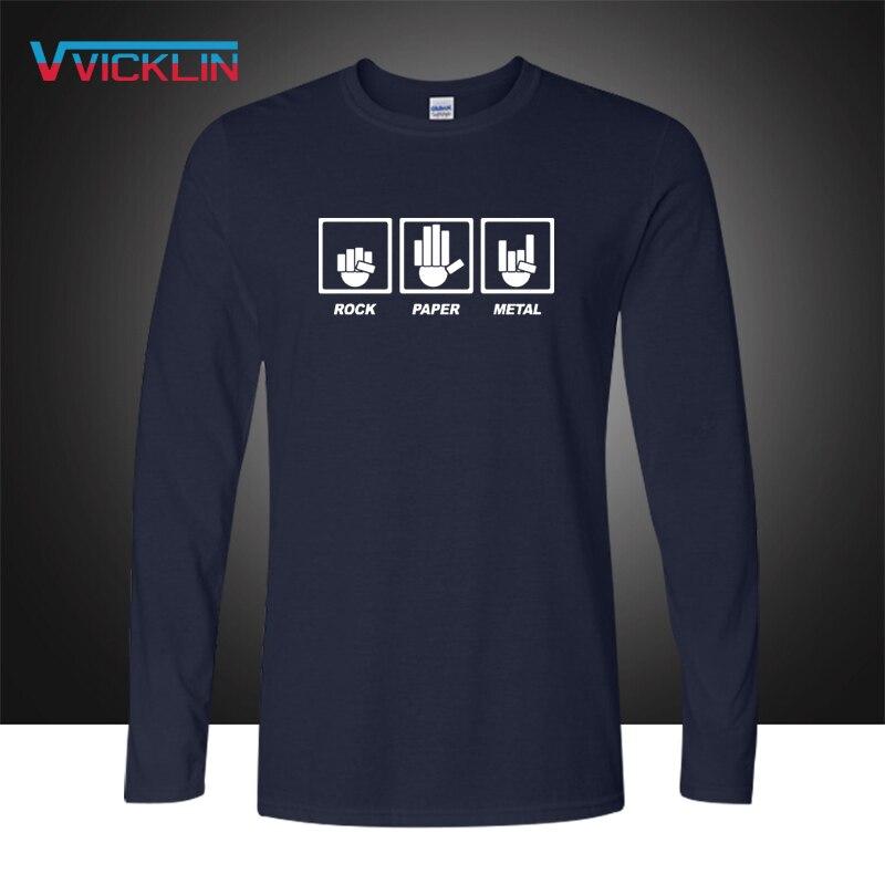 Мужская хлопковая футболка в стиле хип-хоп, Повседневная футболка с длинным рукавом и металлическим принтом в виде рок-бумаги, AC DC, 2019