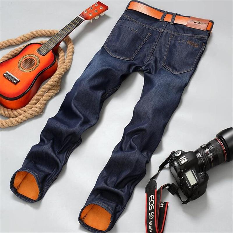 Vaqueros forrados de vellón para hombre, pantalones vaqueros cálidos de moda Otoño...