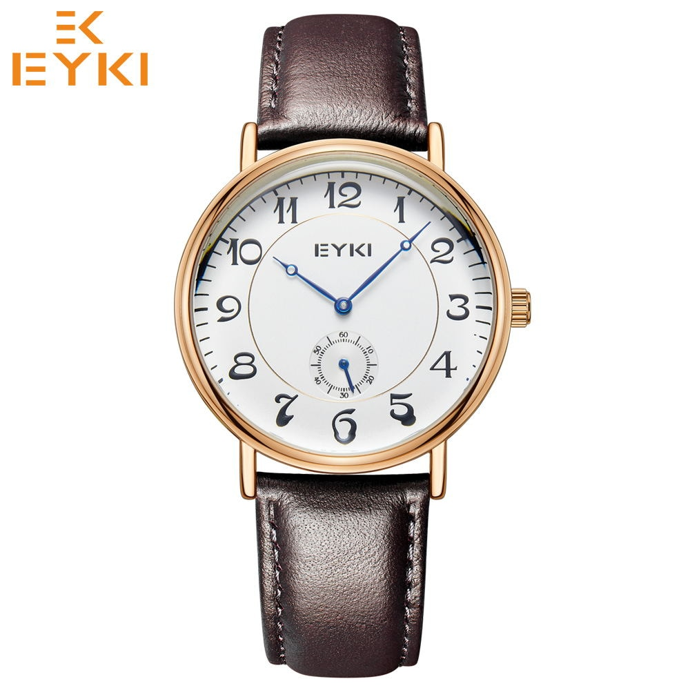 EYKI Retro Wrist watches Top Mens Women Watch Waterproof Leather Strap Quartz Movement Relogio Feminino masculino Montres Homme yelang v1021 aviator serier t100 tritium tubes flourescent numbers 100m waterproof leather strap mens quartz wrist watch