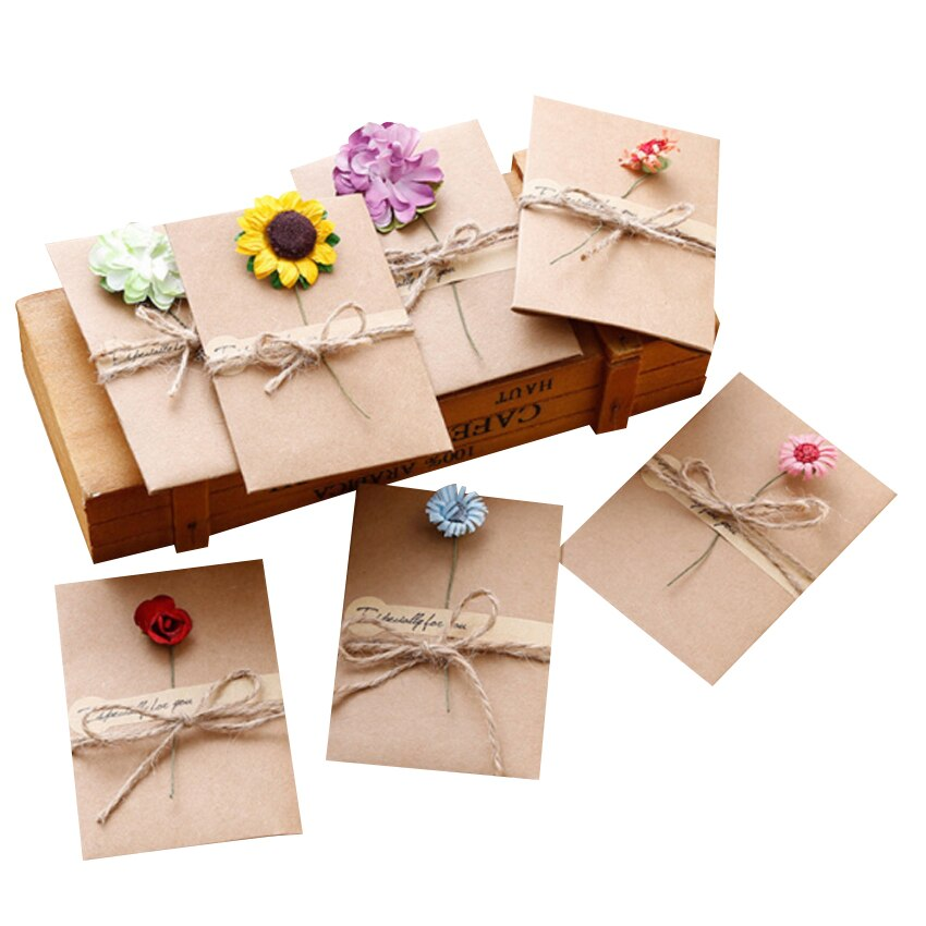 50packs/lot DIY Handmade Dried Flower Especially for youCard Vintage Kraft Paper Greeting Card For New Year Gift Cards