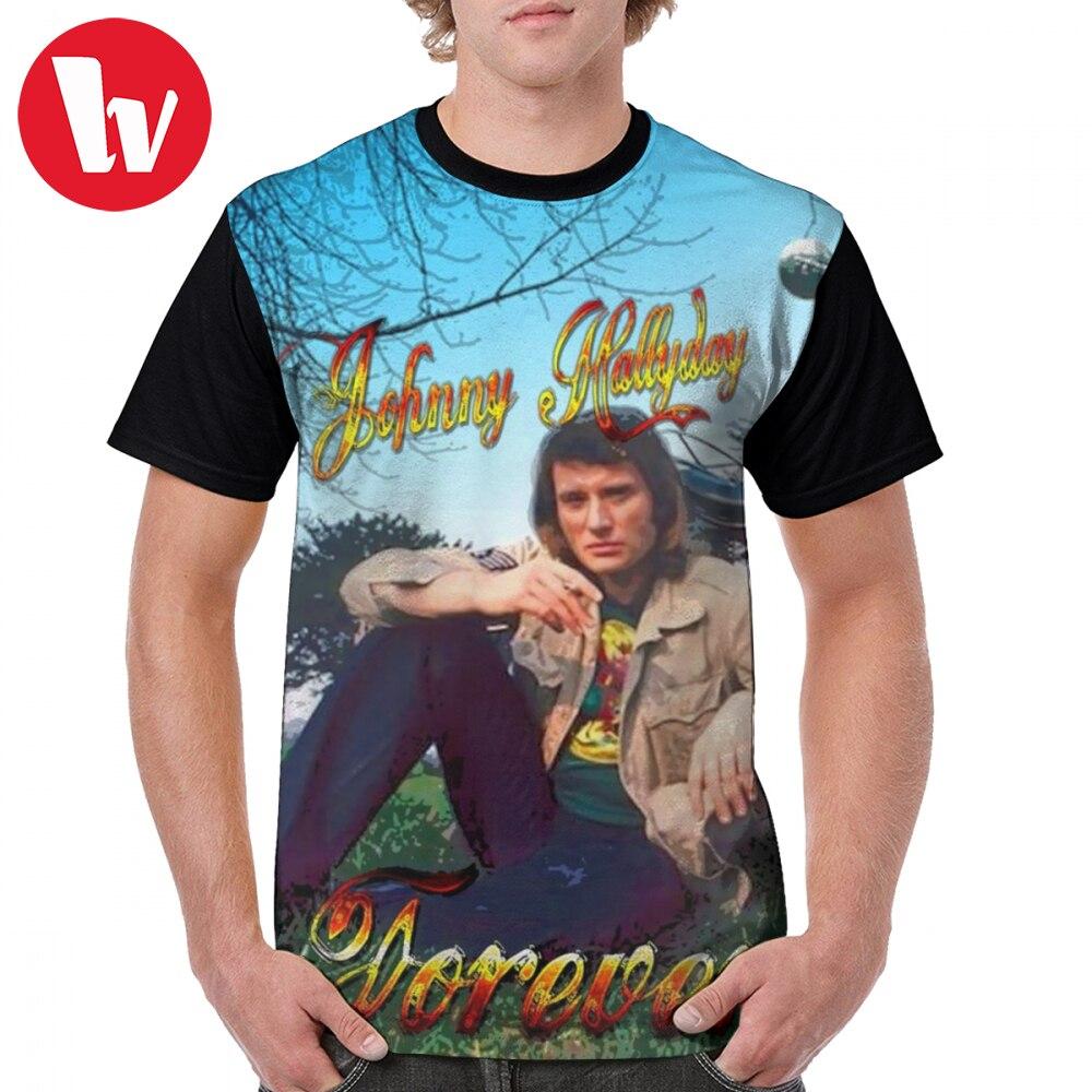 Johnny Hallyday camiseta Johnny Hallyday Forever Camiseta estampada de manga corta gráfica camiseta masculina clásica