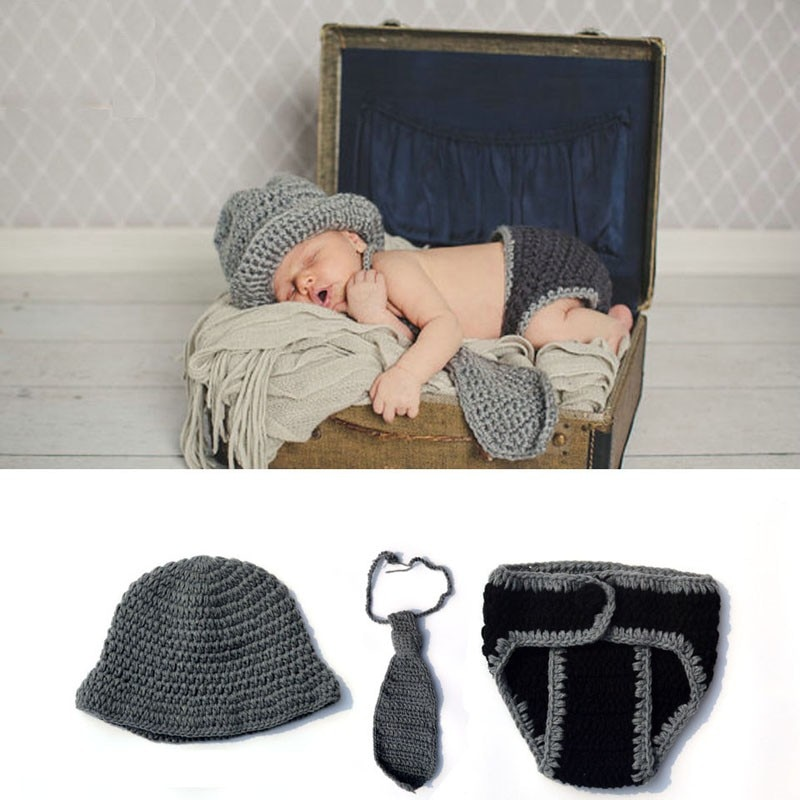 2019 New Newborn photography props Gentleman Outfits Crochet Knitted Baby Hat Caps Necktie and shorts Set Baby Photo Props недорого