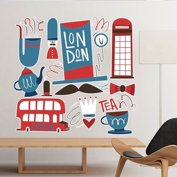 Tower Bus UK England Landmark Mark Illustration Pattern Removable Wall Sticker City Buildings Art Decals Mural DIY Wallpaper
