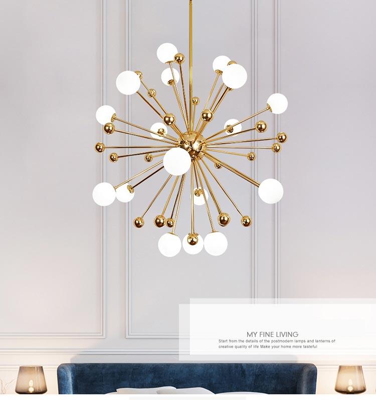 Nordic LED Chandeliers Dandelion American Magic Bean Lights Art Decoration Light Fixtures for Living Room Dining Room Bedroom