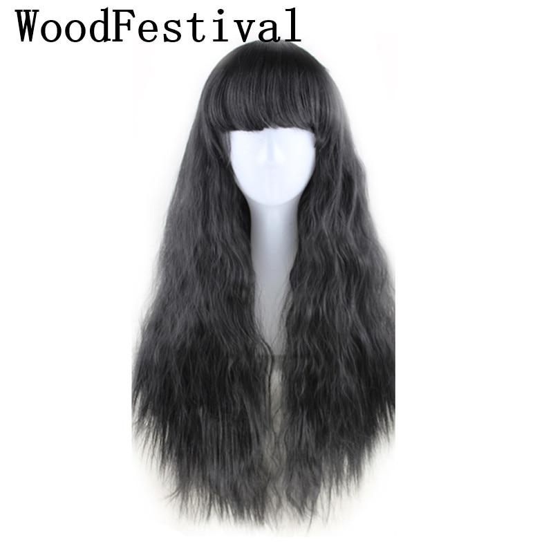 WoodFestival, peluca sintética resistente al calor para mujeres, peluca larga rizada de maíz esponjoso marrón Borgoña amarillo negro, pelucas de Cosplay con flequillo
