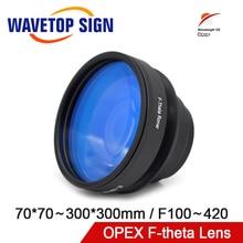 OPEX F-theta 필드 스캔 렌즈 1064nm 70x70-300x300mm 1064nm YAG 광섬유 레이저 마킹 기계 부품 용 F100-420mm