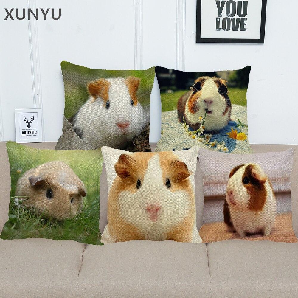 XUNYU Guinea cerdo de lino funda de almohada casa sofá cuadrado funda almohada de animal patrón funda de cojín decorativa 45X45cm BZ214