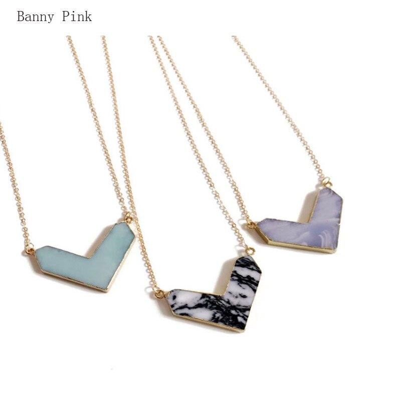 Elegante GEO aleación colgante collar de mujer breve V Semi-piedra preciosa collar de cadena de Metal de joyería de moda Colliers bisutería collar