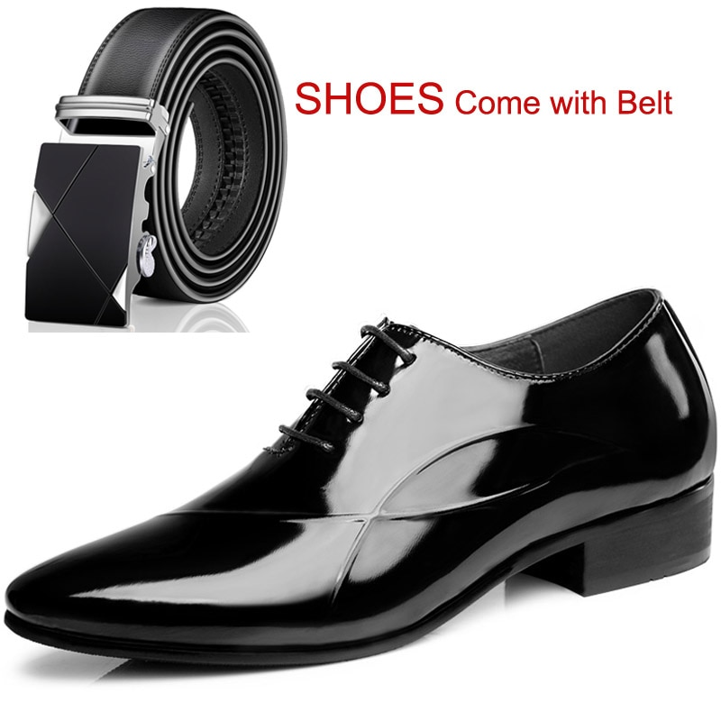 أكسفورد-حذاء جلد أسود لامع للرجال ، حذاء كلاسيكي لزيادة الارتفاع 8 سنتيمتر