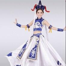 Costumes de danse mongole bleue Performance féminine porter Paillette grande jupe Robe femmes Nation danse vêtements avec chapeau 17