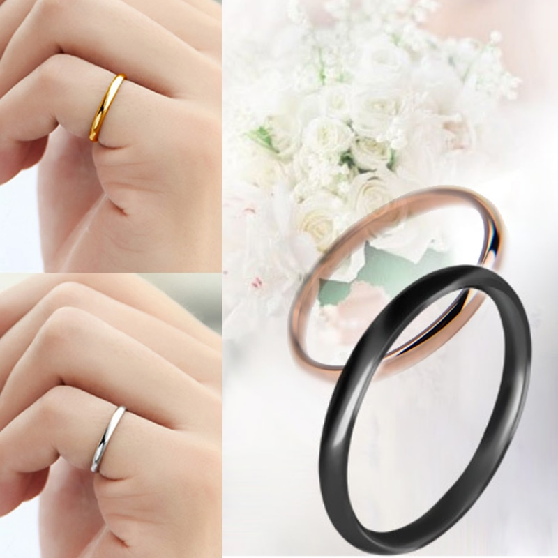 1PC Hot Titanium Steel 4 Colors Unisex Simple Smooth Women Men Couples Rings Anniversary Solid Wedding Jewelry Gift