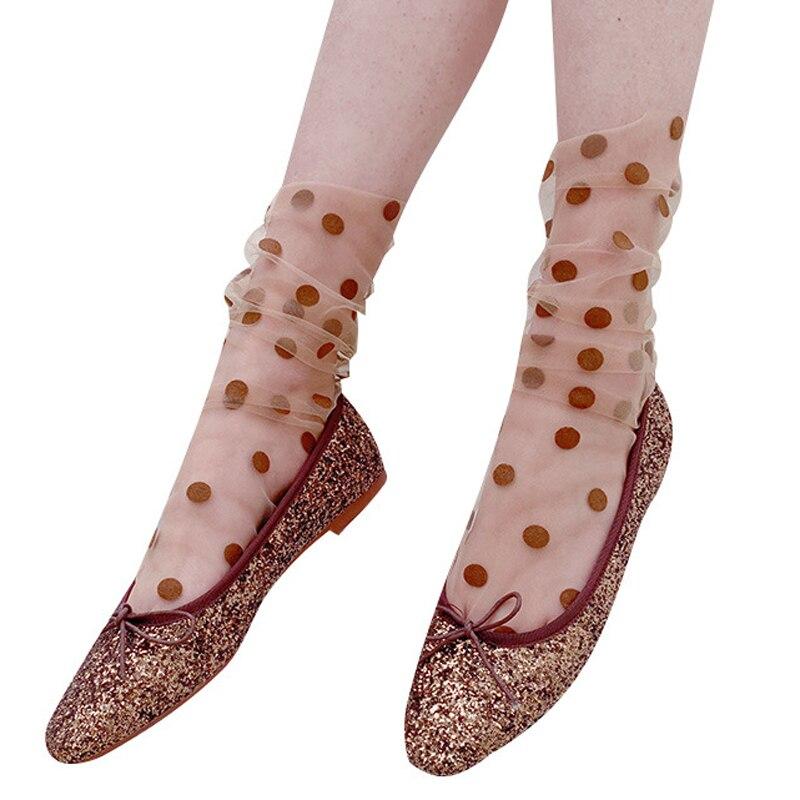 Neue sommer frauen Harajuku Atmungs Transparente Mesh Kleine Tupfen Socken Dame Net Garn Fishnet Dot Socken Lustige Strumpfwaren sox