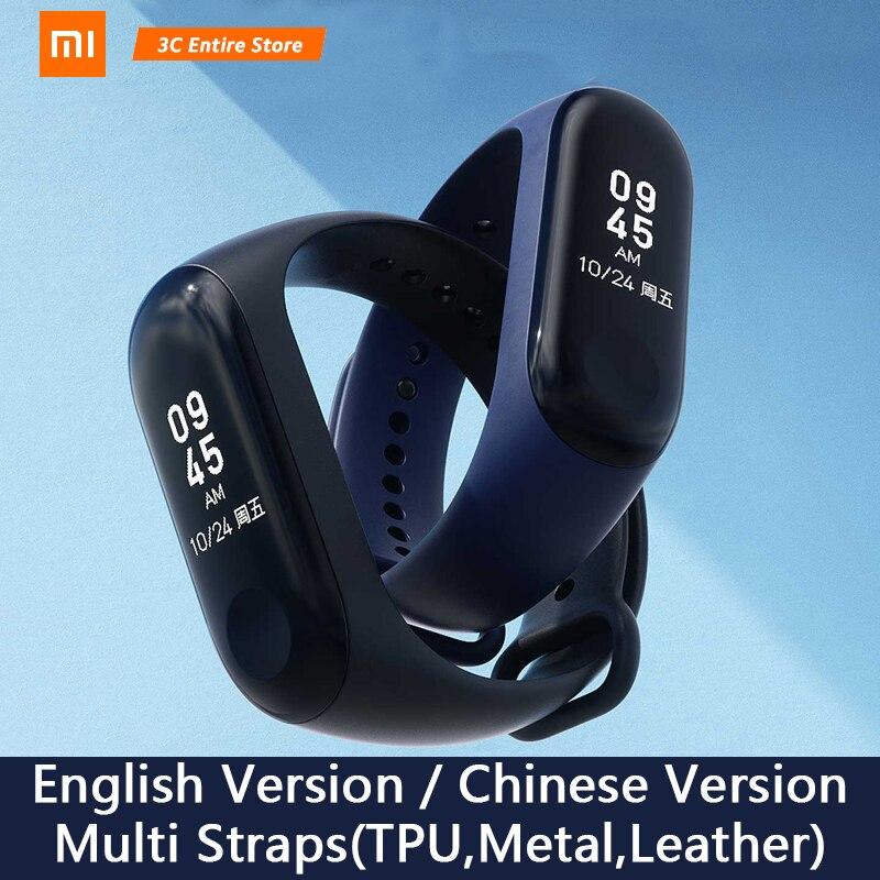 "Original mundial Xiaomi mi banda 3 Band3 brazalete pulsera inteligente 0,78 ""OLED mensaje instantáneo identificador de mi banda 3 Fitness Tracker"