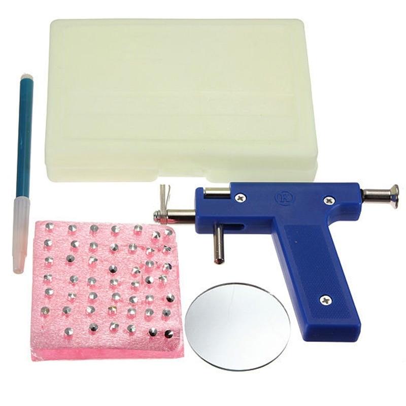 Pro acero oreja nariz ombligo cuerpo Piercing herramienta de pistola Kit 98 Uds instrumento espárragos Set azul drop shipping