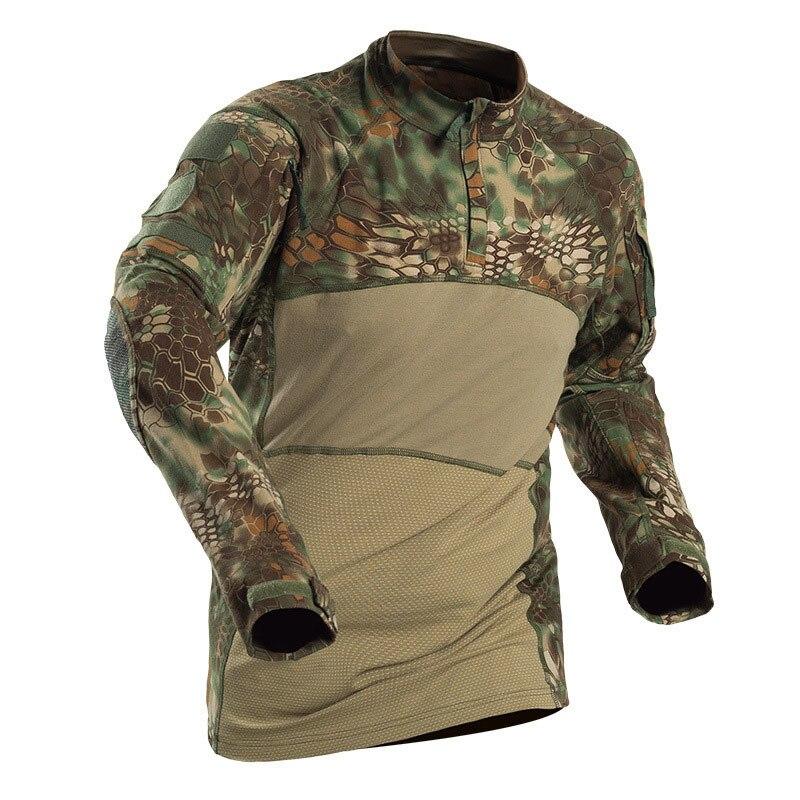 Taktische Militärische Shirts Männer Camouflage Kampf T Hemd Armee Kraft Battlefield Solider Casual Langarm T Shirts Männer